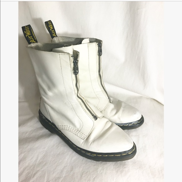 Doc Martens White Zipper Pointy Boots